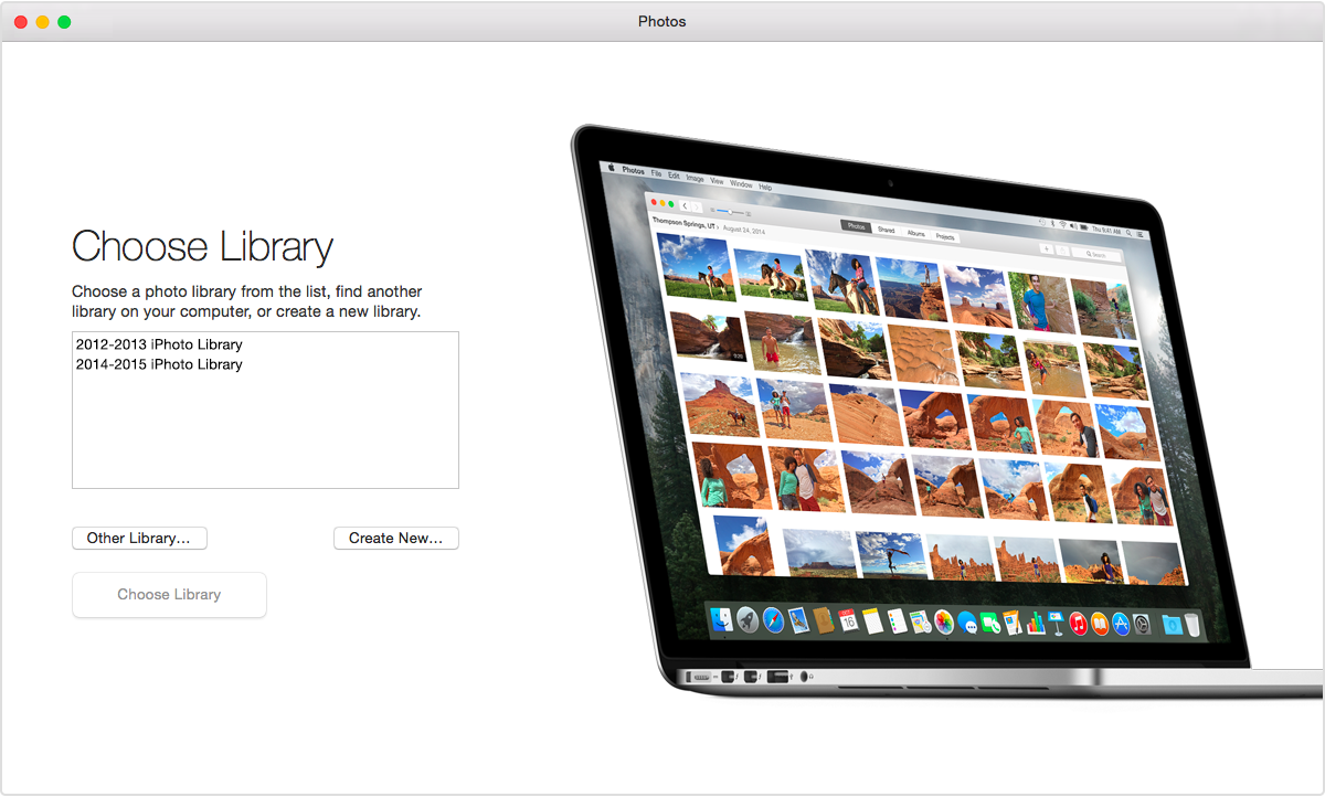 osx photo app choose library